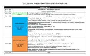 InPACT 2016 PRELIMINARY CONFERENCE PROGRAM